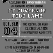 Lt. Governor Lamb Birthday Celebration this Saturday