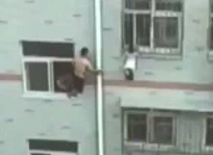 Hero Saves Toddler Dangling From 4th-Floor Window Using Only A Mop