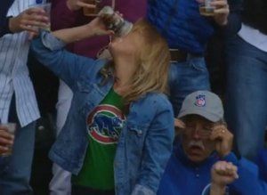 Hero Woman Catches Baseball In Beer At Cubs Game, Proceeds To Chug Beer
